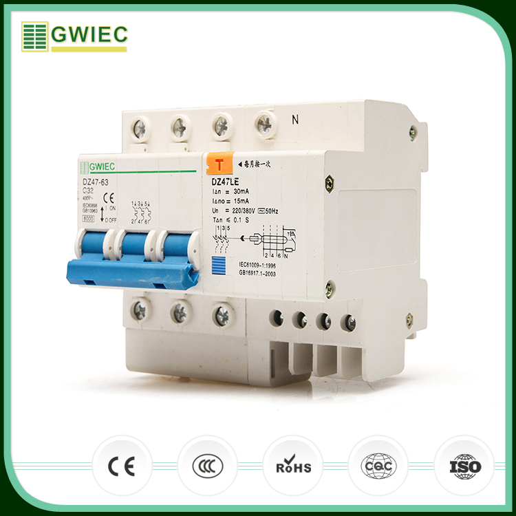 GWIEC New Products DZ47LE Electronic Type 32A 3P+N Rcbo Australia Residual Current Circuit Breaker