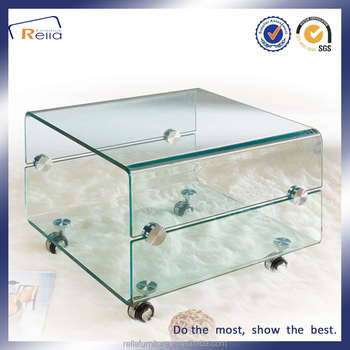 Modern Design Bent Glass Coffee Tables With Wheels Part 50