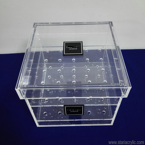 Factory Wholesale Luxury 25 holes Clear Acrylic Rose Box Wedding Flower Gift Box Square Water Holder Flower Pot