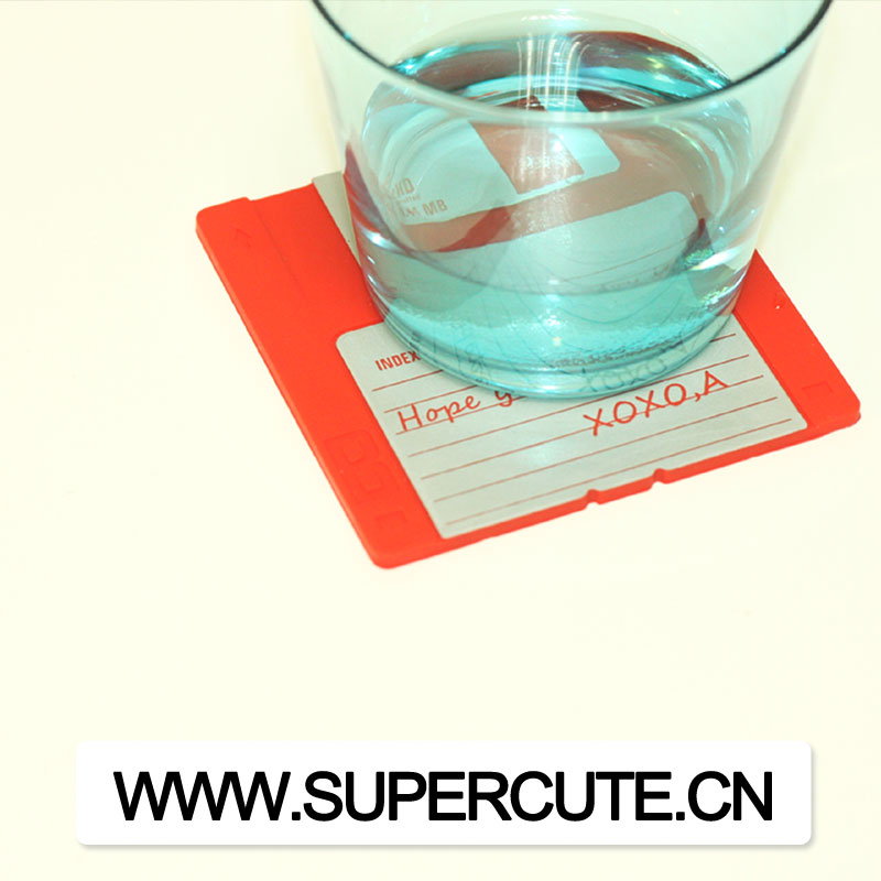 Personalized Custom Silicone pink Floppy disk cup coaster