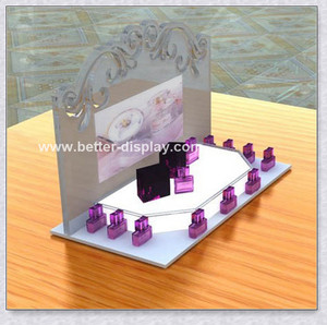 Custom fashion acrylic perfume bottle display stand
