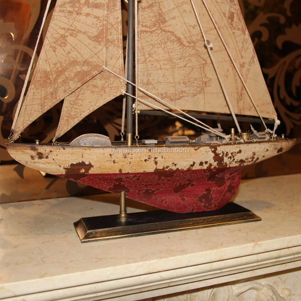 Antique Old Wooden Sailing Ship Model2 Sets 43x9x62cmgreenred Colormarine Sailboat Vessel Yacht Model Collection For Home Buy Old Shipwooden