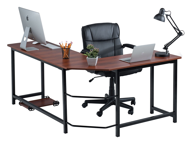 Fineboard Stylish L-Shaped Office Computer Corner Desk Elegant & Modern Design, Red/Black