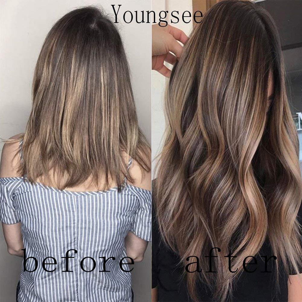 Dark brown hair with caramel blonde balayage