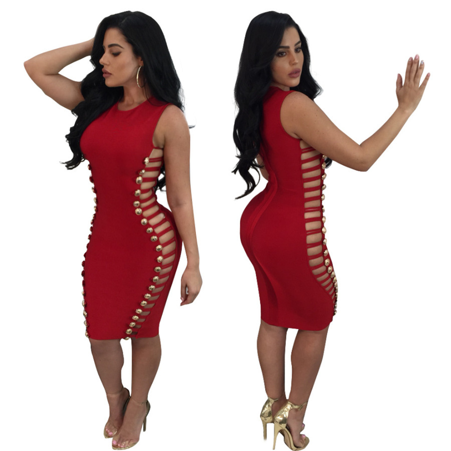 FS1068A New trending products sexy mature women studded bandage dress
