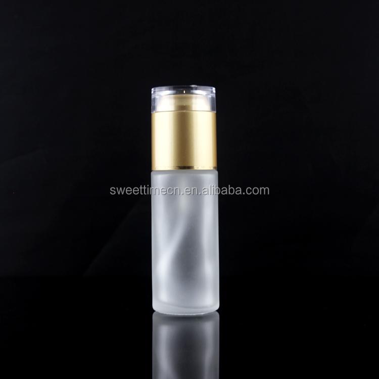 Gold Acrylic Cap Acrylic Lotion Glass Bottle