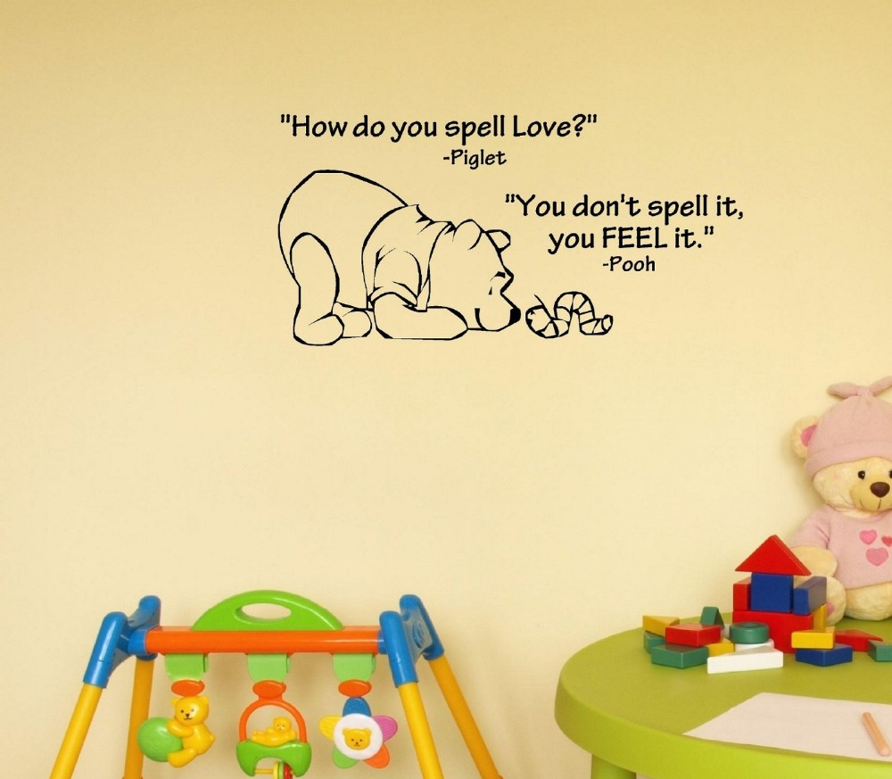 how do you spell love winnie the pooh vinyl wall art inspirational quotes home decor. Black Bedroom Furniture Sets. Home Design Ideas
