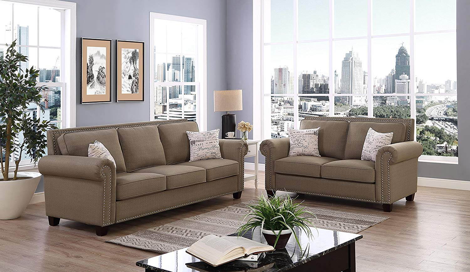 Get Quotations · Linen Fabric Tufted Nailhead Trim Chesterfield Inspired  Design With Removable Cushion Loveseat, Sofa Set,
