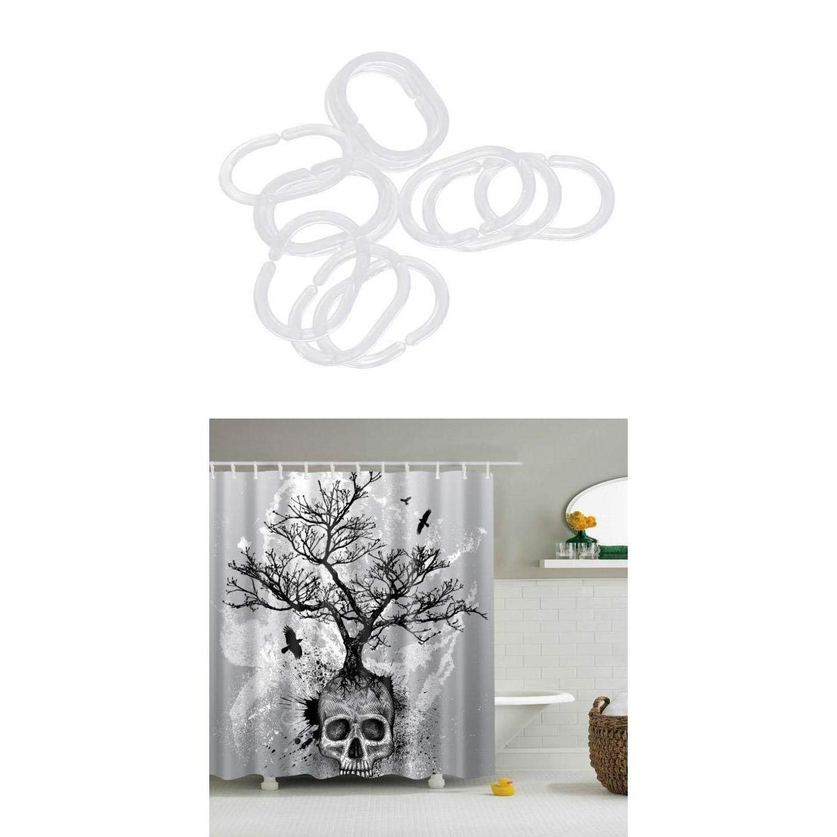 Get Quotations MagiDeal Shower Curtains Waterproof Mildew Resistant ABS Plastic Curtain Hooks Ring Clear