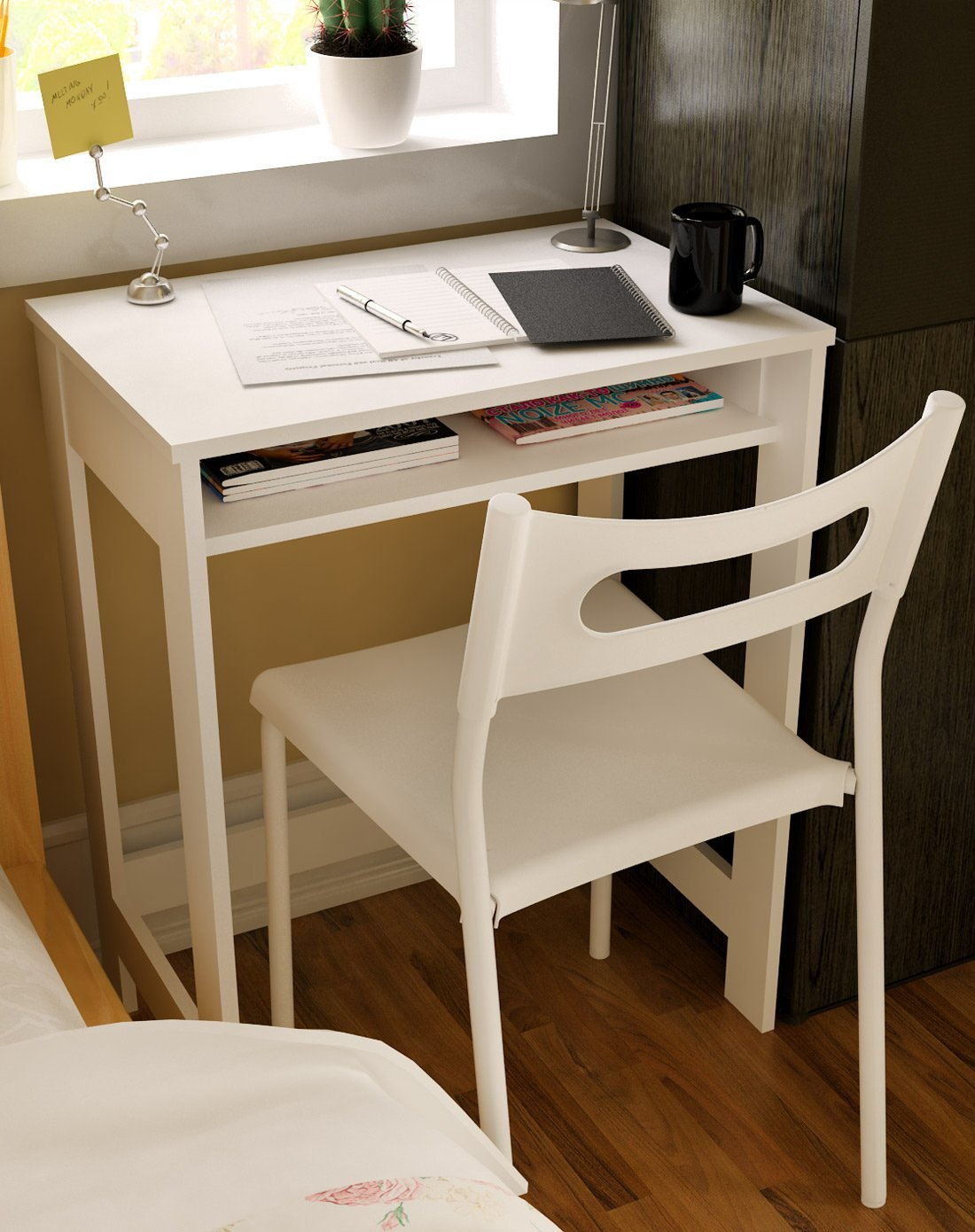 Get Quotations Ikazs Wood Computer Moving Desk Whitesimple White Finish Office Workstation Study Table