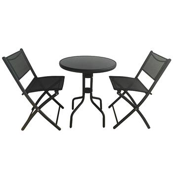 Dining Room Furniture Metal Frame Textile Bistro Table Set 3 Piece French Sets Folding