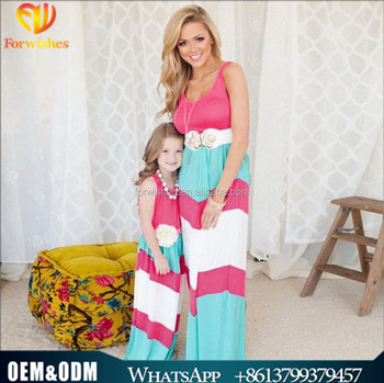 dab959ff545f8 2017 New Girl Desi Family Matching Clothes Stripes Tank Top Beach Design  Mother Daughter Floor-length Dress Flower Girl Dress - Buy Mom And Me ...