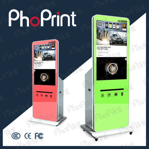 amusement park pop display with lcd video player integrated printer boft kiosk