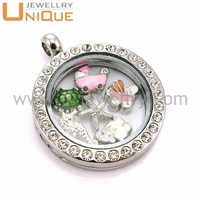 Floating locket fashion jewellry charm pendant made of stainless steel