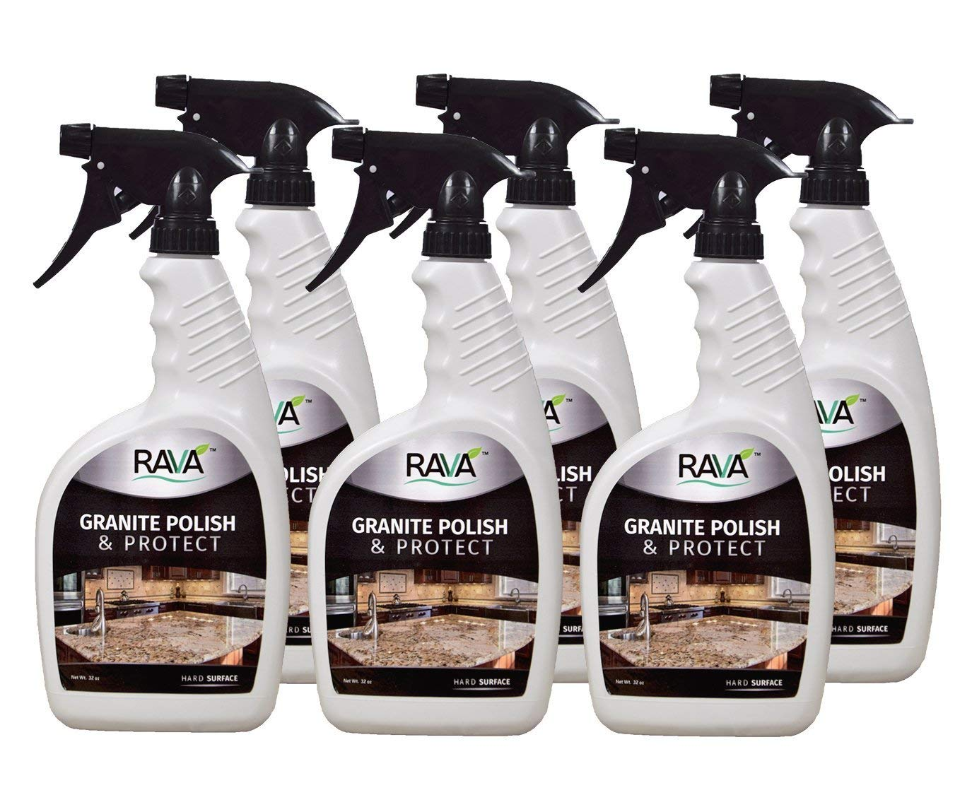 RAVA Granite Polish & Protect 32oz Bottle 6 Pack Daily use to Clean and Shine Streak Free No Residue for Marble Granite Ceramic terrazo Quartz Stone and Simulated Stone countertops