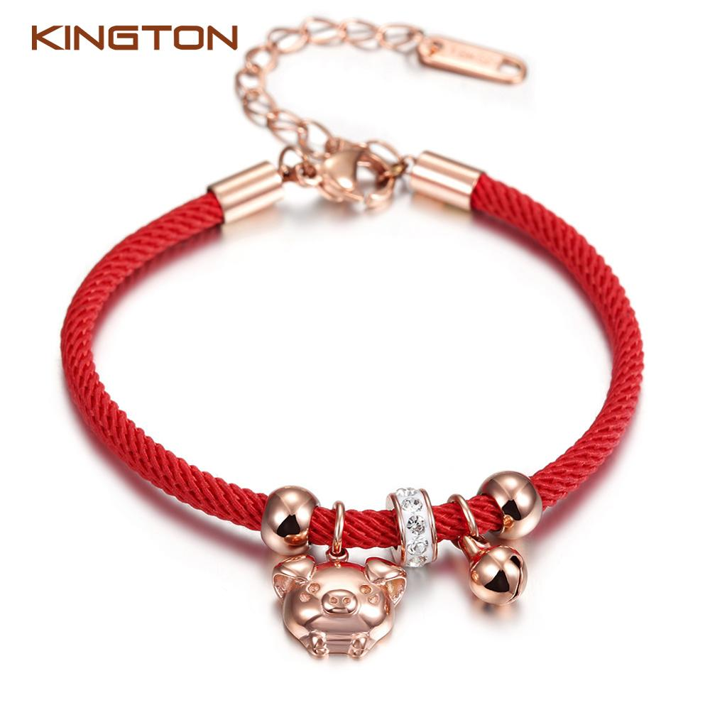 2019 new arrivals pig red rope bracelets lucky charm women bracelets for valentine day gifts фото