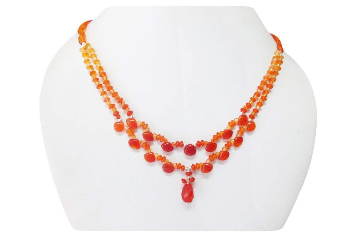 """Designer Carnelian gemstone beaded necklace finished with sterling silver findings 16"""" Orange carnelian beads Gift Ideas"""