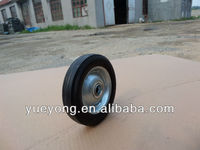 6 inch rubber wheel Solid tyre truckle with zinc plating rim