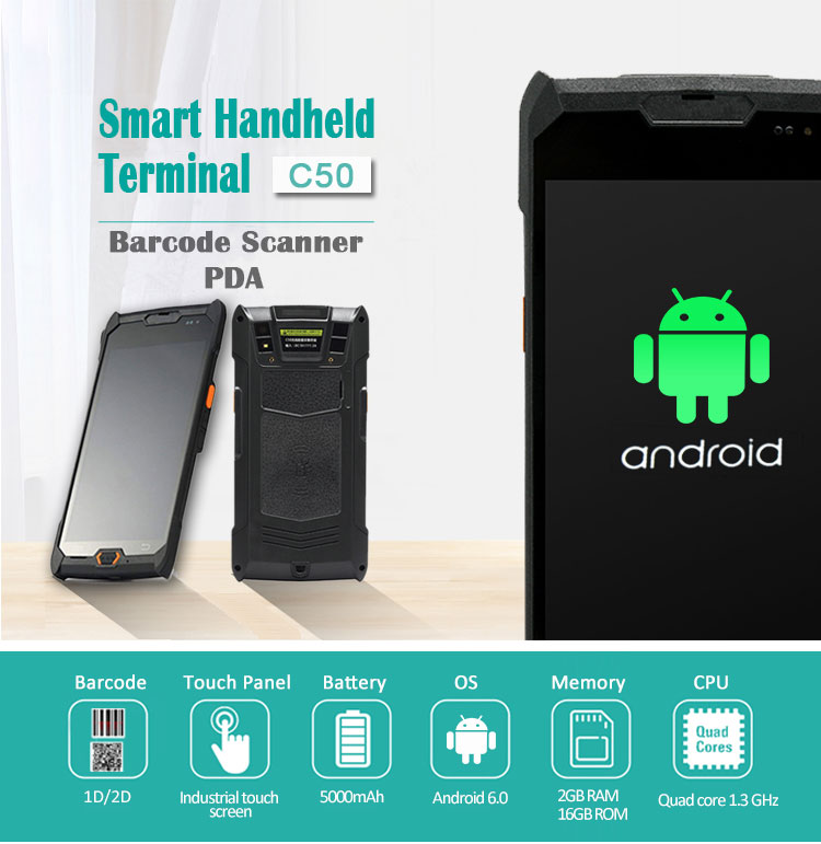 Courier IP67 RFID Reader Smartphone Mobile Android Handheld PDA With SDK C50