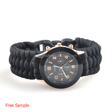 1pcs handmade 550 PARACORD COSTOM SURVIVAL WATCH BRACELET FOR CLIMBING BLACK