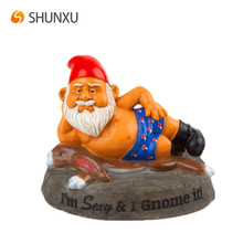 Wholesale polyresin garden decorative accessories sexy gnome statue for sale