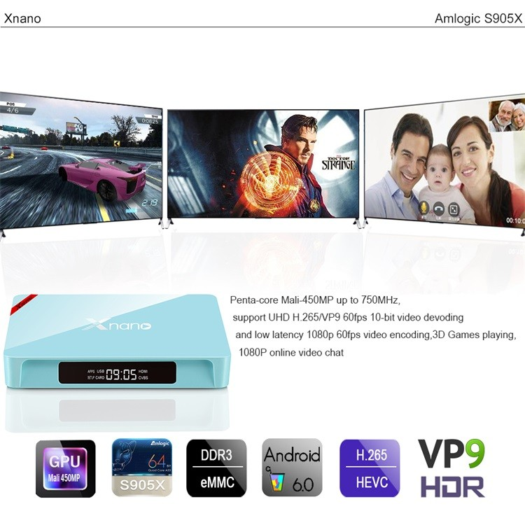 Top Quality Internet TV Box Preinstalled Kodi 2017 Cheapest X96pro Xnano S905x Android 6.0 TV Box enybox