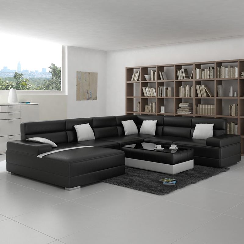 Living Room Modern Black: Living Room Sofa With Modern Design Black Color-in Living