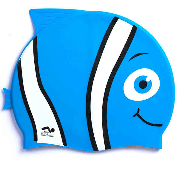 OEM avilable Carton Fish Design Kids animals silicone swimming caps