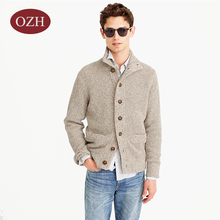 Mock neck cotton cardigan sweater for men