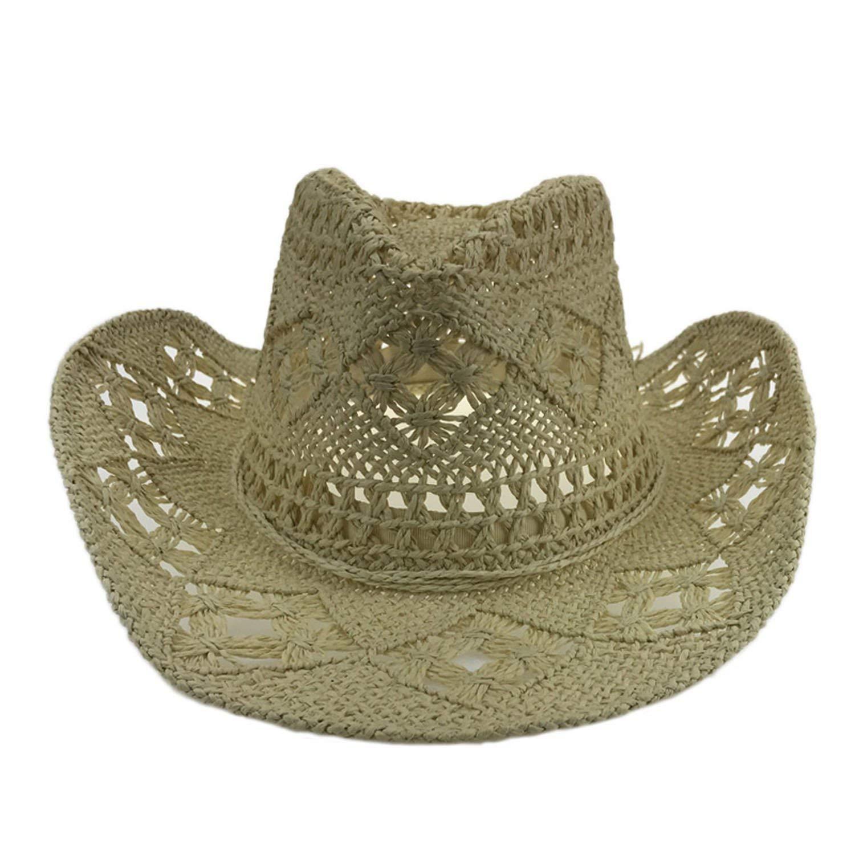 fff2f03fd05 Get Quotations · BRITTANY TINCHER Handmade Straw Hat Western Men Cowboy Cap  Beach Summer Solid Women Straw Hat Jazz