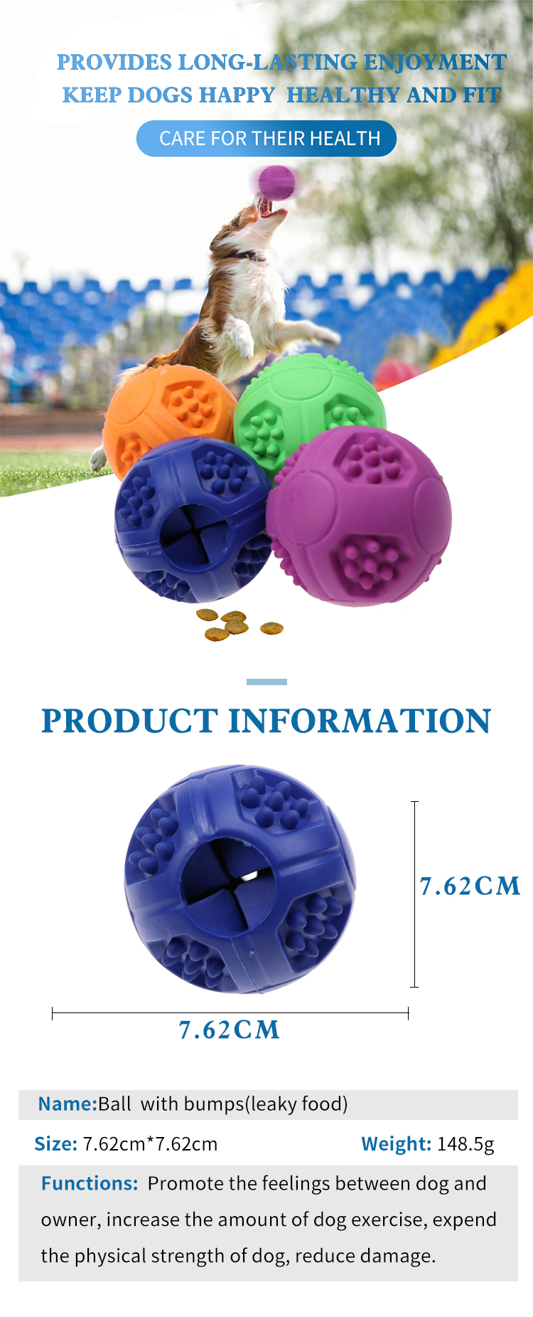 Indestructible Durable Treat Dispensing Training Treat Outdoor Pet Dog Toy Chew Ball Durable Pet Interactive Dog Toothbrush Toy