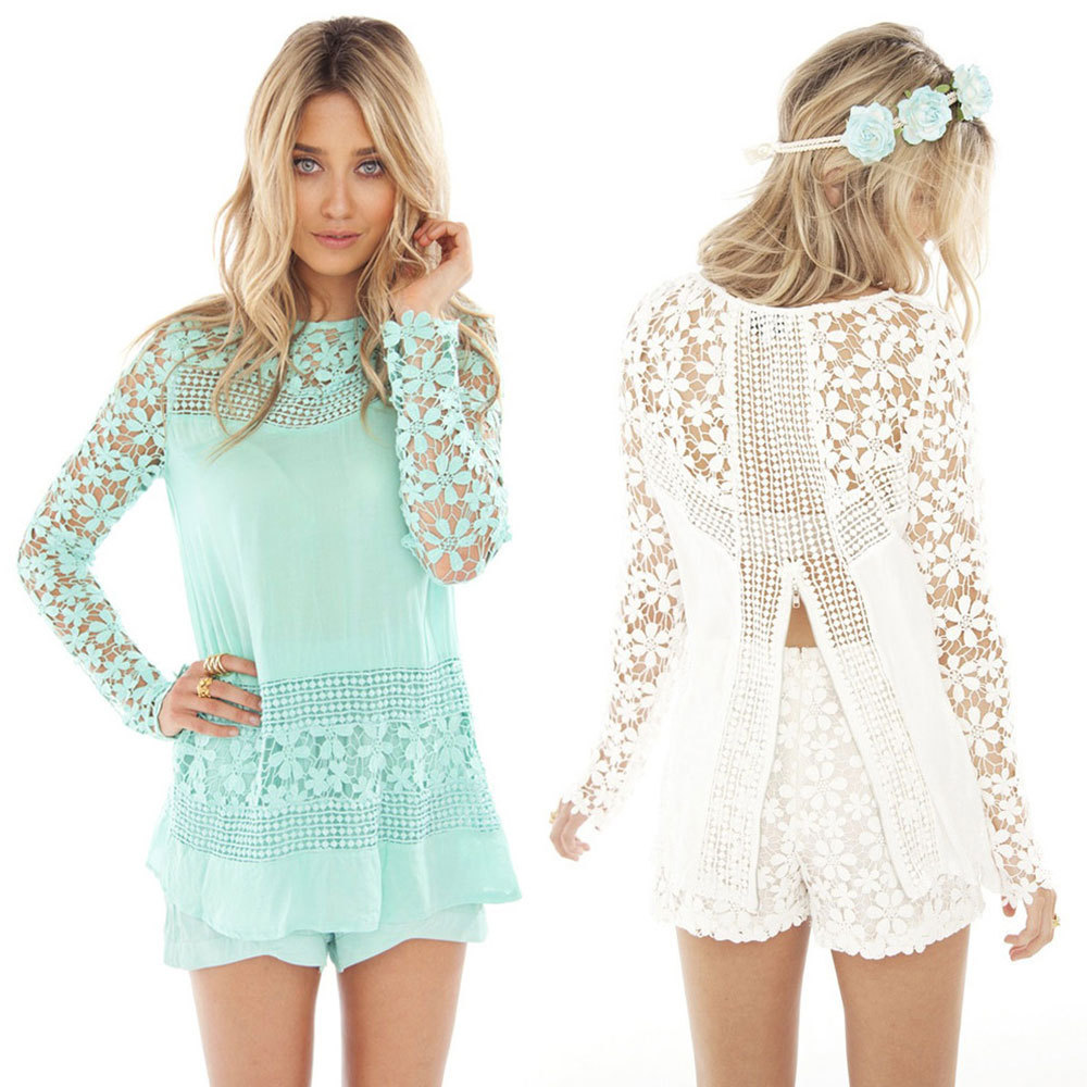 a57acca7c4c7 Buy Open Back Lace Tops 2015 New Women Fashion Full Sleeve Sleeve Crochet  Lace Blouses Elegant Mint White Flora Shirts in Cheap Price on Alibaba.com