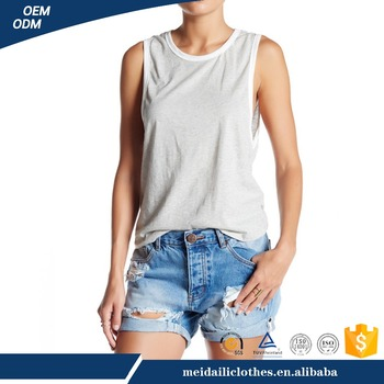 Cotton O Neck Gray Tank Tops Ladies White Sleeveless Summer Vests For Sale