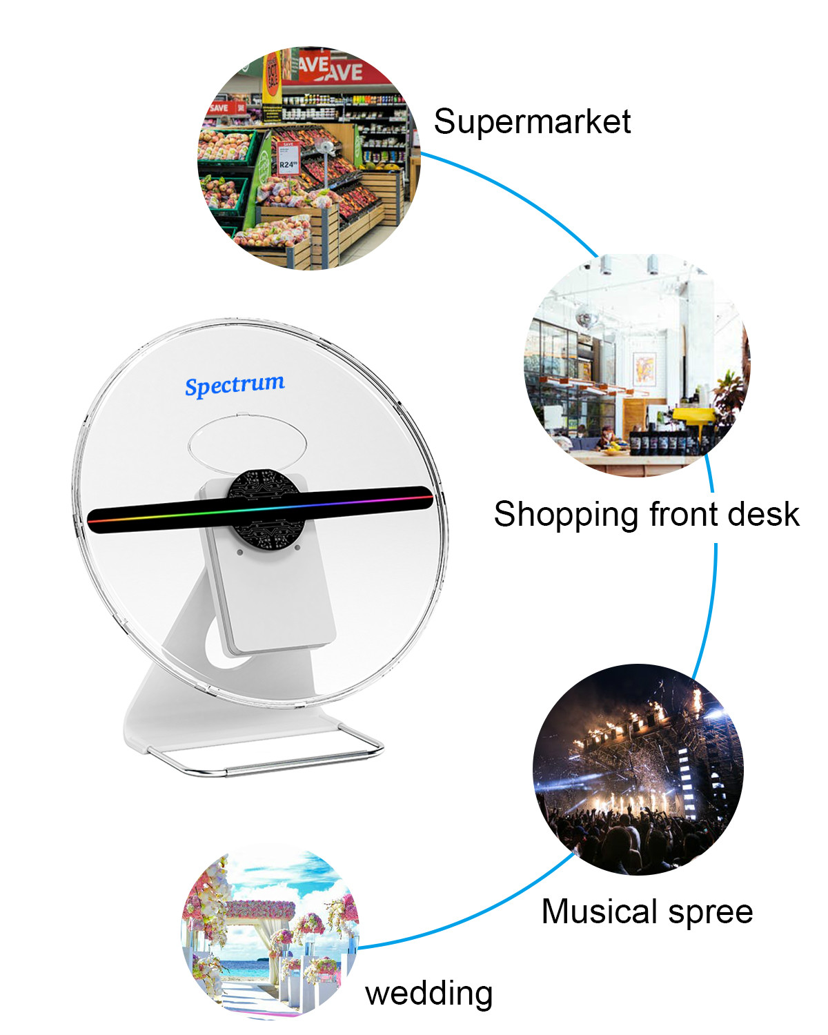 Portable advertising Media with battery  30cm 3D hologram fan 3d holographic led display