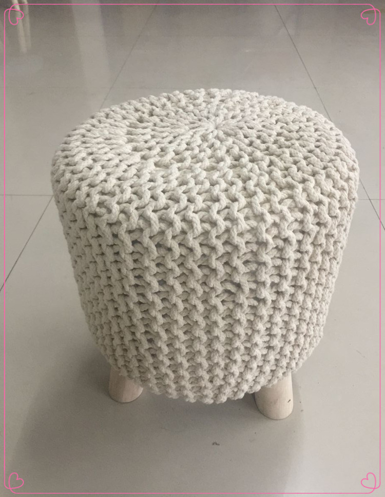 North European Styles Furntiure Indoor Adult Crochet Bean Bag Chunky Cotton  Cords Knitted Bean Bag Chair