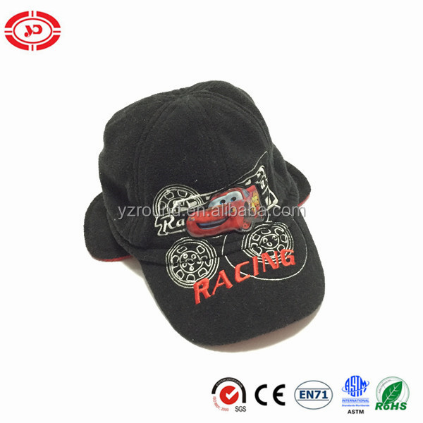 Six Panel kids funny black cotton OEM embroidered cap