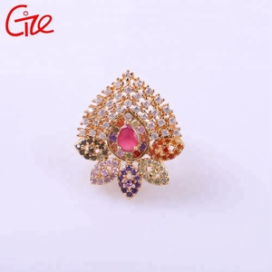 Indian polishing fashion environmental copper diamond wedding gold plated ring