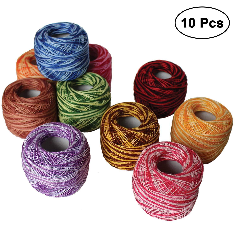 Black Pink Crochet Cotton Thread Lot Of 10 Pcs Embroidery Skein Tatting Ball