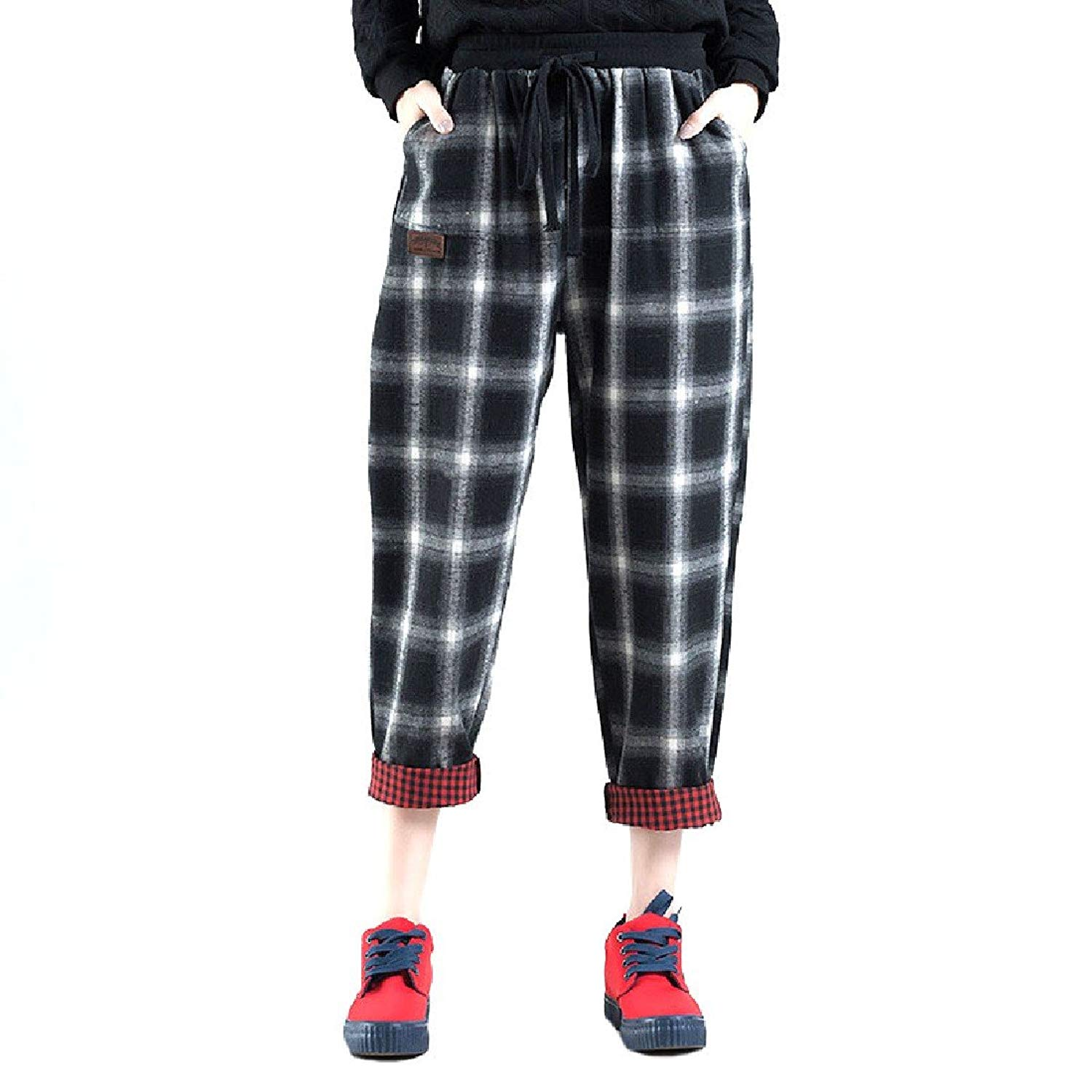 ccb333e30df9 Get Quotations · Zimaes-Women Plaid Baggy Long Pants All-Match Leisure  Cargo Pants