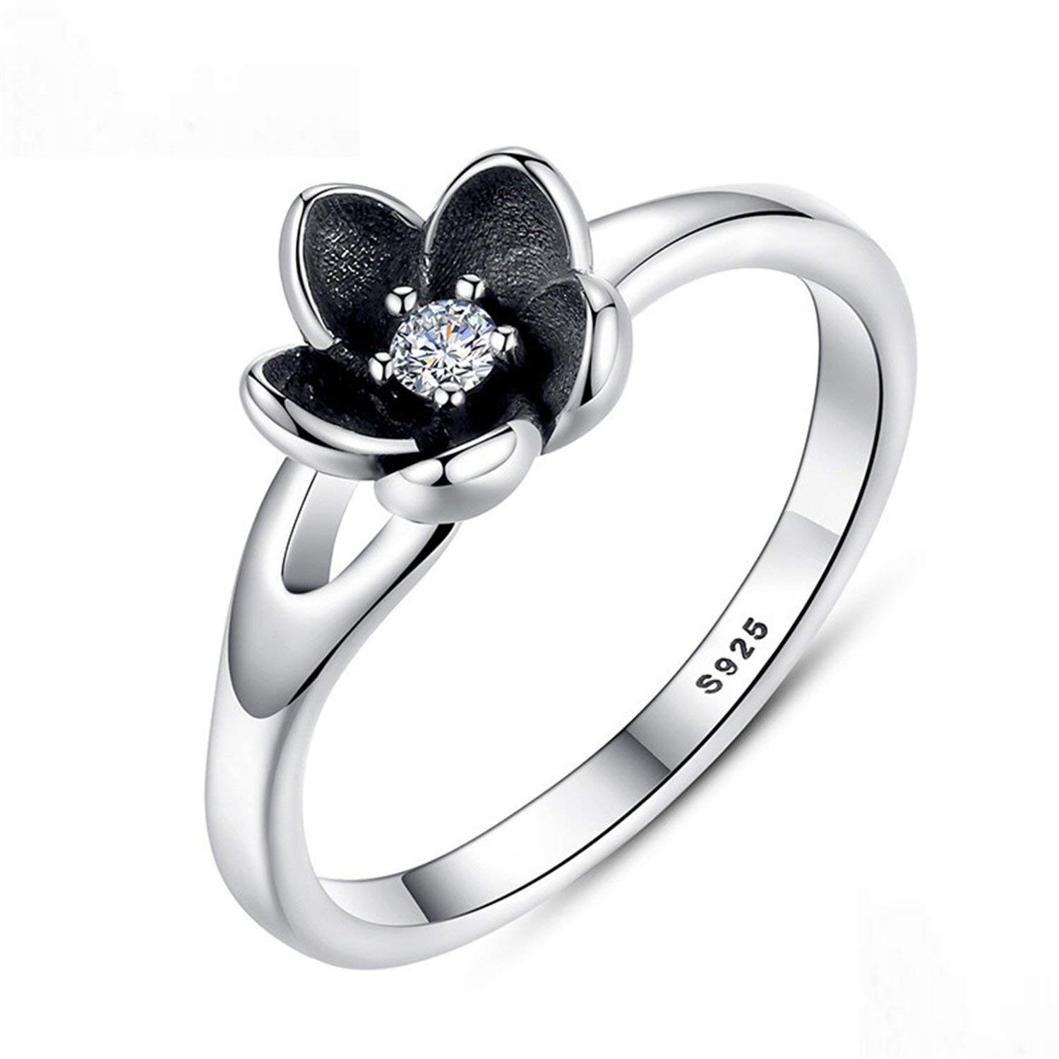 Baqijian Collection Authentic Floral Flower Stackable Ring Black Enamel Sterling Jewelry Pa7154