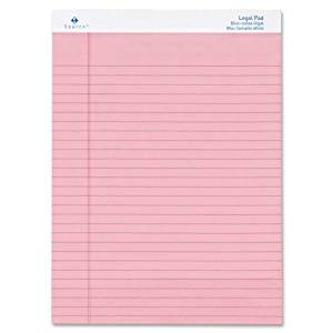 """Colored Pad, Legal Rule, 8-1/2""""x11-3/4"""", 50 Sheets, 12-Pack Color: Pink"""
