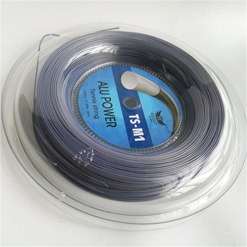 Best Price Big Banger Alu Power Round Smooth Co-polyester 1.25mm 17 200m Reel Tennis String, Black/white/gray/golden/pink