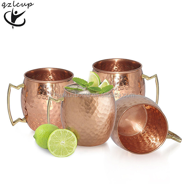 wholesale Moscow Mule Copper Hammered Mug , 18oz copper plating stainless steel travel beverage / beer mug