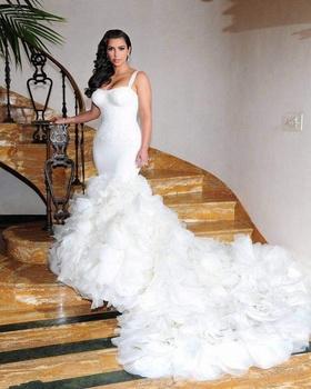 Kim Kardashian Wedding Dresses With Spaghetti Straps Court Train