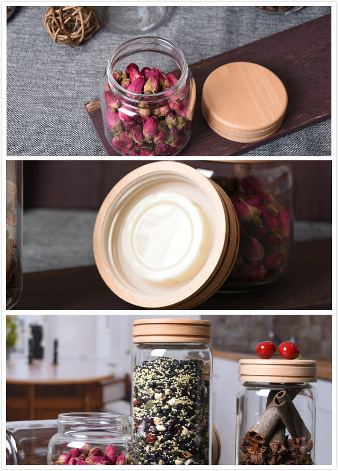 450ml Leakproof Screw Mouth Airtight Handmade Borosilicate Glass Food Storage Jar With Oak Wooden Lid