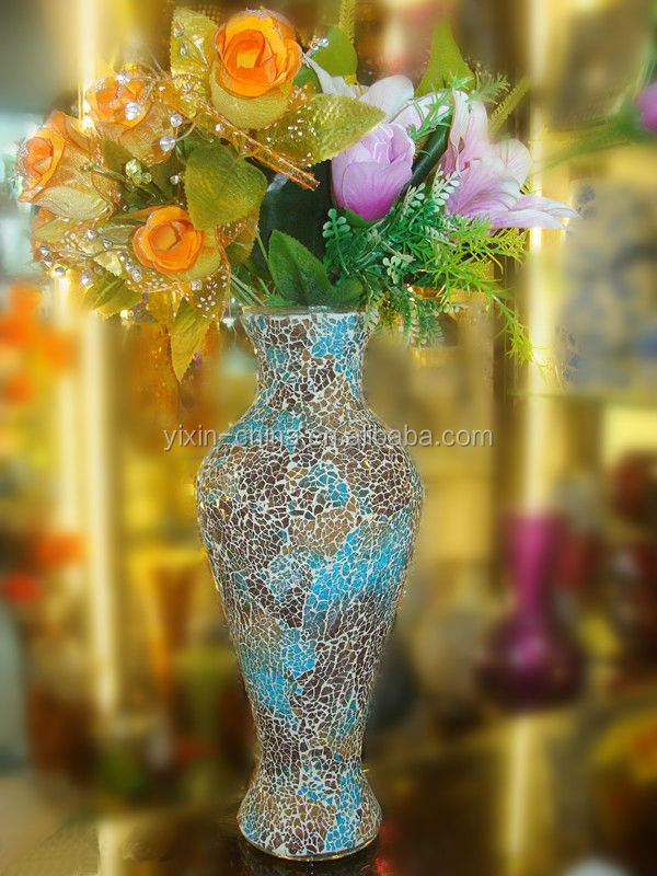 Antique Mosaic Glass Flower Vase