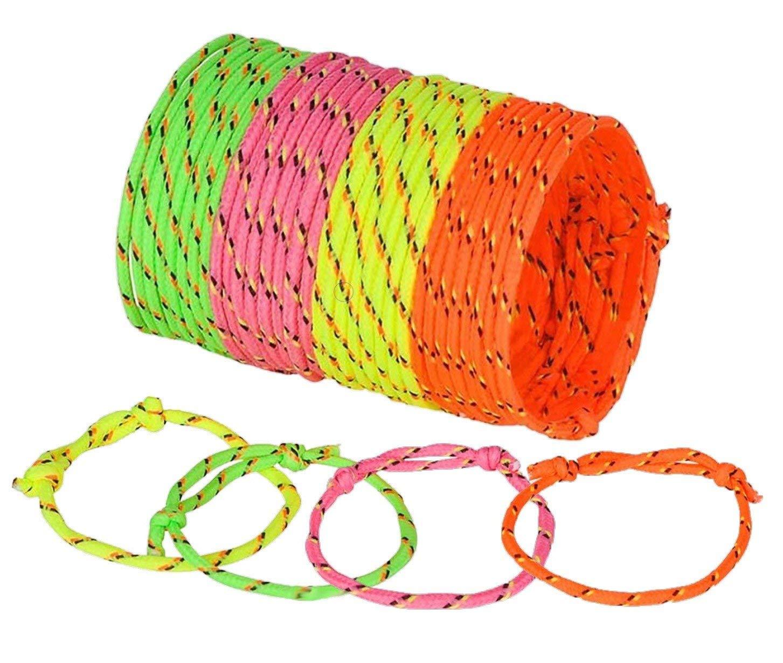 84c2b698d1f1 Get Quotations · Toy Spout Neon Rope Woven Friendship Bracelets - 4  Assorted Bright Colors - Adjustable, Prizes