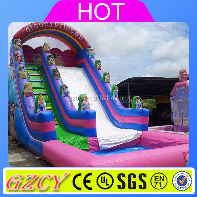 2016 Hot Style Giant Princess Inflatable Water Slide With Pool