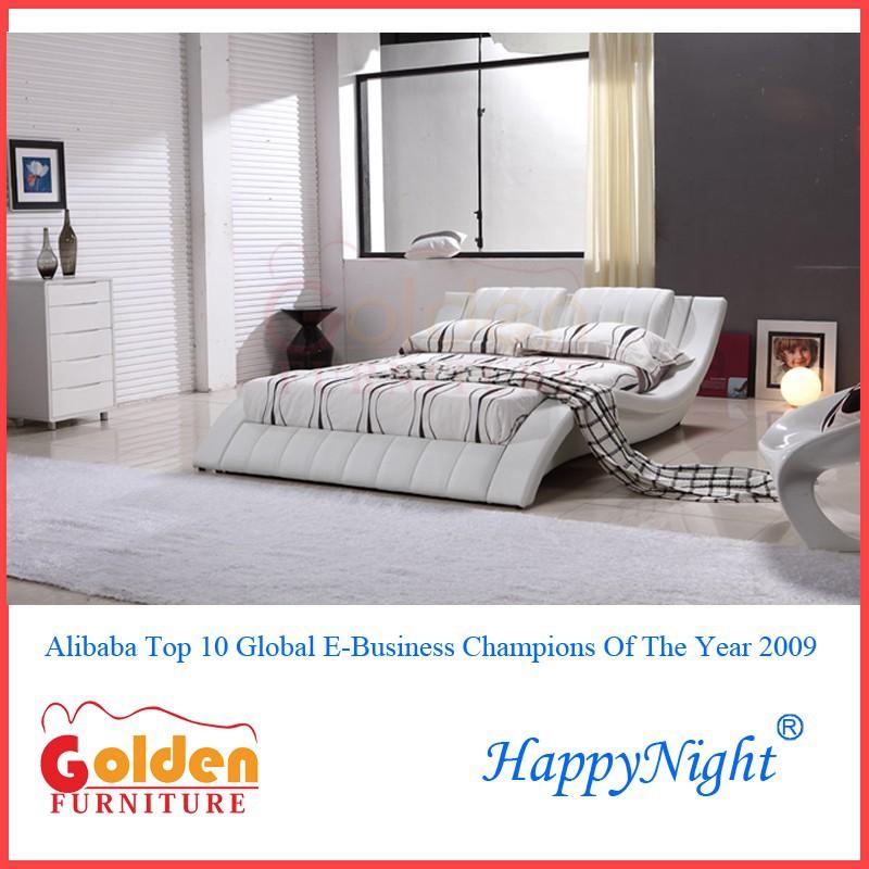 Italiano moderno dormitorio cama de cuero blanco g1021#-Camas ...