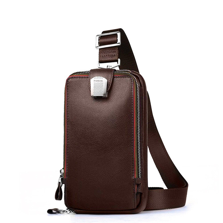 cd26fe2084 Get Quotations · PADIEOE Mens Genuine Leather Crossbody Bag Chest Sling  Backpack Body Shoulder Bag Pack